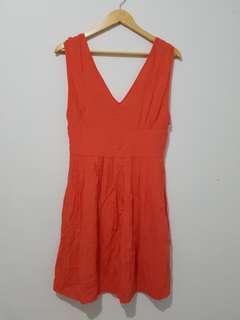 Dress wanita V neck pink Mango original sz M