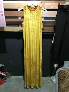 Zara Mustard Velvet Flare Jumpsuit