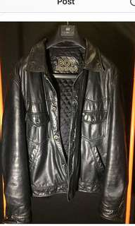 BOY LONDON Classic trucker jacket in black leather