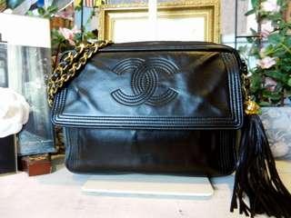 Vintage Chanel黑色羊皮流蘇金球camera bag 23cm