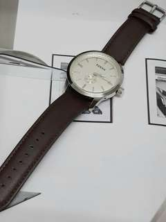 Fossil Brown Leather Mens Watch + Box