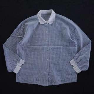🚚 🌴日本藍白條紋復古拼接領襯衫 女款Vintage 日本帶回古著