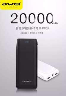 黑色 Awei p66k 20000mah 尿袋 Micro/TypeC 2輸入,3 usb 輸出 power bank