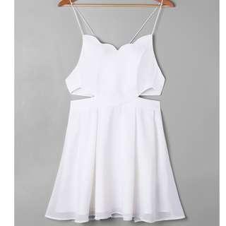 Zaful Mini Side Cut Out Scalloped Slip Dress