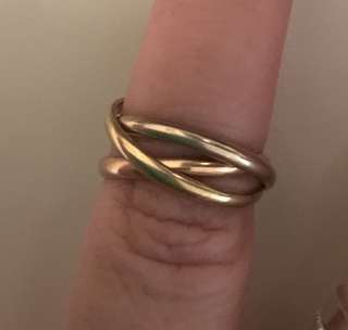 Vintage 18 K gold tri coloured rolling ring