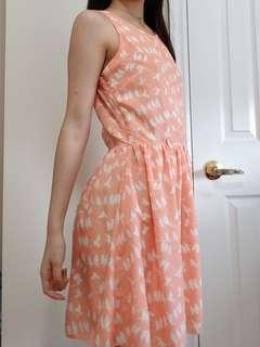 Orange Bird Print A-line Dress
