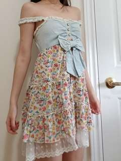 Floral A-Line Bow Dress
