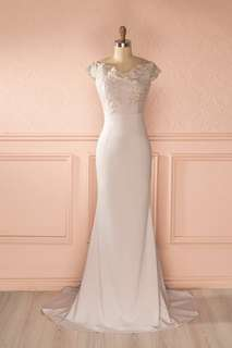 1861 Boutique Lilac Grey Off Shoulder Ball Gown Prom Dress