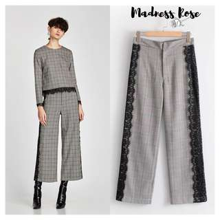 Grey Checked Lace Trim Trousers