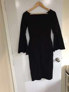 Black bodycon dress with wing sleeve