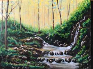 Original oil painting Early Stream