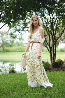 Zara white yellow floral cold shoulder maxi dress size S