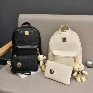 Korean Leather Backpack 4 in 1 Bag Set with Bear