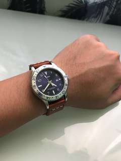 Timex with genuine leather strap
