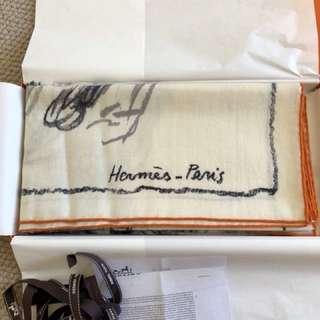 hermes shawl cashmere+silk 140cm