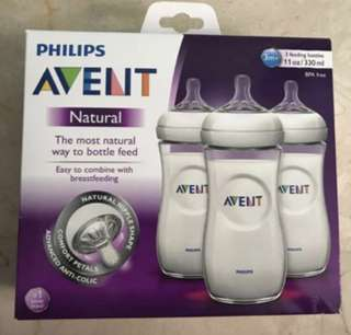 BNIB 3x Philips Avent Natural feeding bottles 330ml