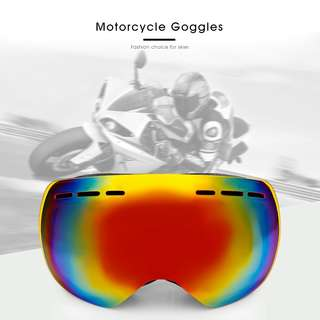 MOTORCYCLE GOGGLES FOR SKIING CLIMBING DOUBLE LENSES (BLACK)