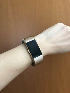 Fitbit Charge 2 Genuine Leather Champagne Gold Straps
