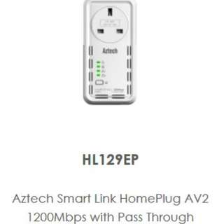 Aztech SmartLink HomePlug with AC Pass Through (1200mbps), 2 qty available