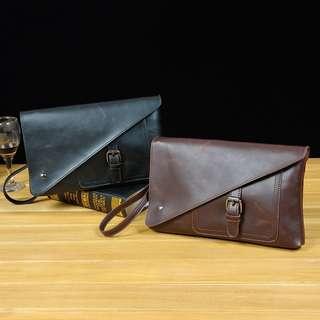 Men's Leather Pouch / Wristlet (Half-Flap)