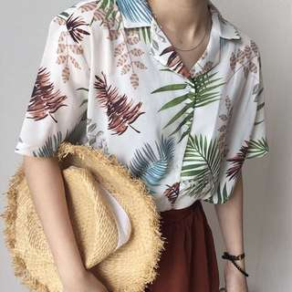 🚚 PENDING Palm Tree silky collar shirt