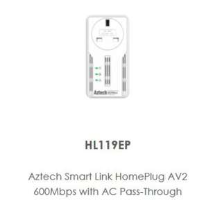 Aztech SmartLink  HomePlug (600mbps) with AC PassThru