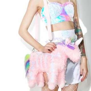 🚚 【黑店】獨家訂製款 原宿 龐克 夢幻粉紅色獨角獸絨毛包包 斜背包單肩包 粉色獨角獸 少女心蘿莉塔包包 甜美穿搭森女系