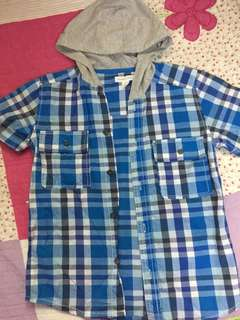 PUMPKIN PATCH CHECKED SHIRT WITH HOODED