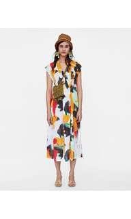 🚚 European V-neck short-sleeved abstract graffiti printing dress