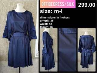 Royal Blue princess cut dress silk