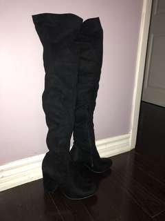Suede over the knee thigh highs