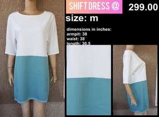 Shift Dress - Office Look White / Tiffany blue non stretch