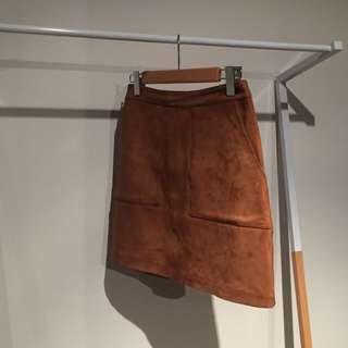 Forever New Tan Suede Look Mini Skirt