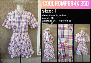 Romper w Hoodie. MED. Checkered Front button closure