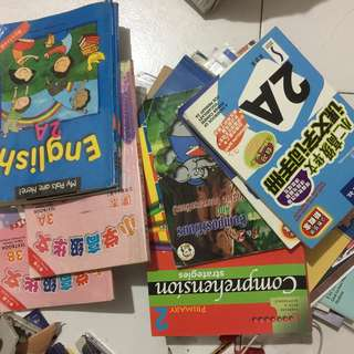Old textbooks, assessment books, story books and Young Scientist magazines
