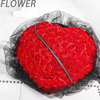 Ready stock! 99 stalk scented roses luxury bouquet(optional: add led lighting with extra $3)