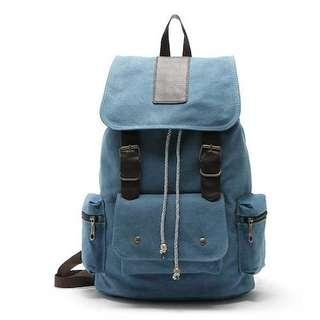 Vrisdan Unisex Canvas Backpack Blue Bag Tas Punggung Ransel Import Wanita Pria Sekolah Kuliah Denim Biru Kanvas Draw String Impor