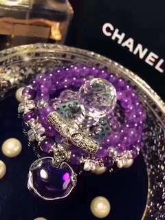 天然紫水晶手鏈 配s925銀如意鎖