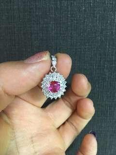 无烧红宝石钻石吊墜