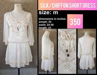 Chiffon/Silk Dress. Fully Lined. Off-white with front ensembles