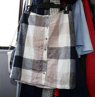 Checkered button up skirt