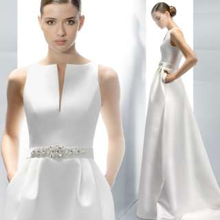 Wedding Collection - Simple But Elegant Sleeveless Smooth Ponytail Wedding Gown