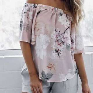 Esther White Closet Off The Shoulder Top in Pastel Pink Floral Print