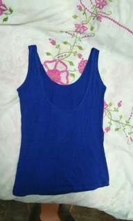 Blue Casual Sleeveless Top With Lower Cut Back