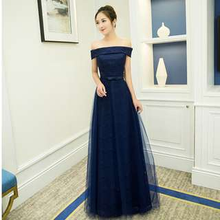 Gown Collection - Elegant T-Off Shoulder Navy Blue A Lining Dinner Gown