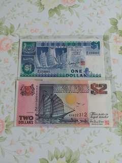 兩張新加坡錢幣,unc