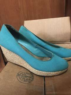 Turquoise Rotan Wedge Heels New Look