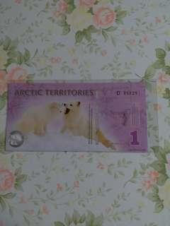 北極 1 dollar,unc。