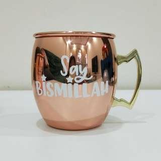 Say Bismillah rose gold copper mug   Hari raya gift