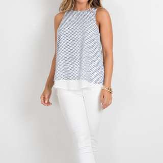 Showpo Tank Top in White with Navy Print